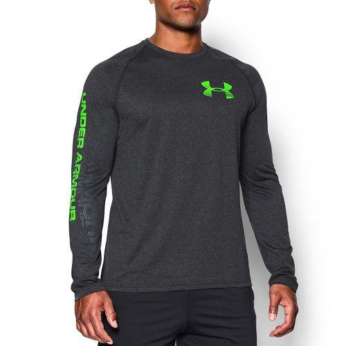Mens Under Armour Tech Longsleeve Graphic T Long Sleeve No Zip Technical Tops - Heather/Green ...