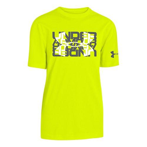 Kids Under Armour Glow Script Logo T Short Sleeve Technical Tops - High Vis Yellow ...