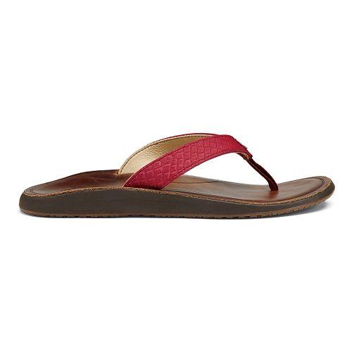 Womens OluKai Pua Sandals Shoe - Deep Red/Bean 6