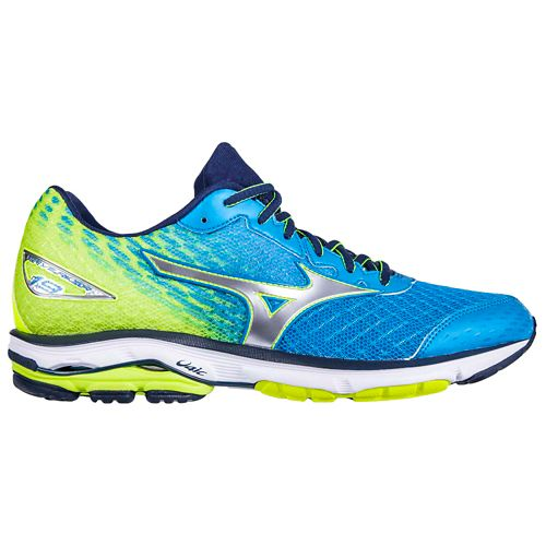 Mens Mizuno Wave Rider 19 Running Shoe - Blue/Safety Yellow 12.5