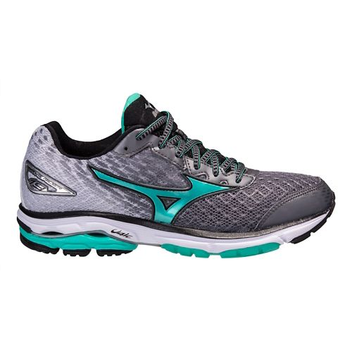 Womens Mizuno Wave Rider 19 Running Shoe - Grey/Green 6.5