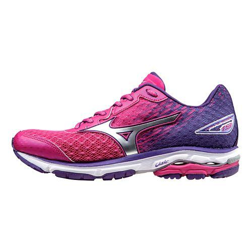 Womens Mizuno Wave Rider 19 Running Shoe - Purple/Silver 8.5
