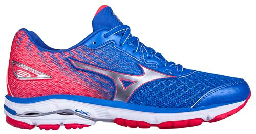 Womens Mizuno Wave Rider 19 Running Shoe - Blue/Pink 6