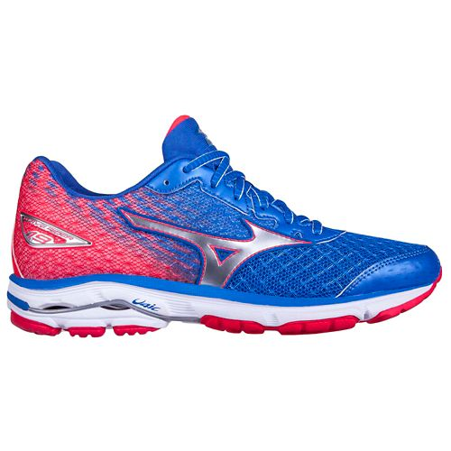 Womens Mizuno Wave Rider 19 Running Shoe - Blue/Pink 10.5