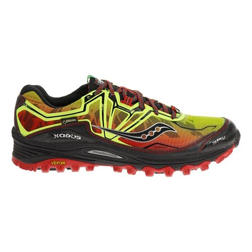 Mens Saucony Xodus 6.0 GTX Trail Running Shoe - Citron/Red 10