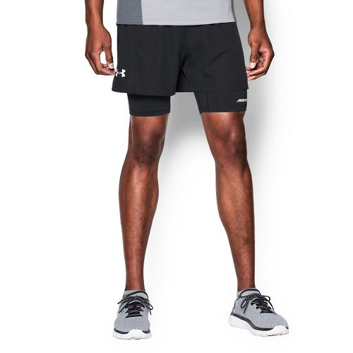 Mens Under Armour Launch Racer 2-in-1 Shorts - Black M
