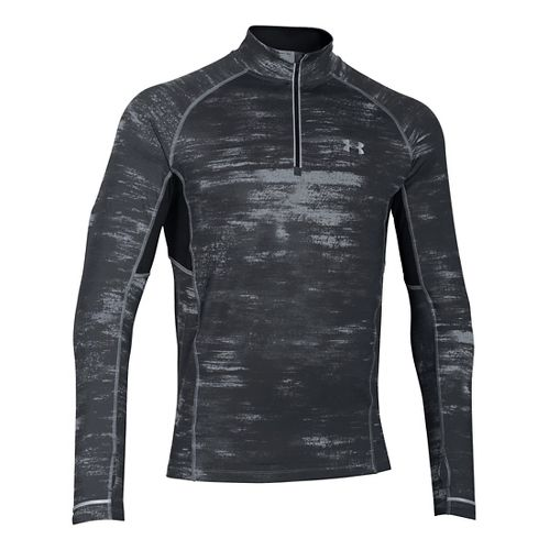 Mens Under Armour Launch Printed 1/4 Zip Long Sleeve Technical Tops - Steel L