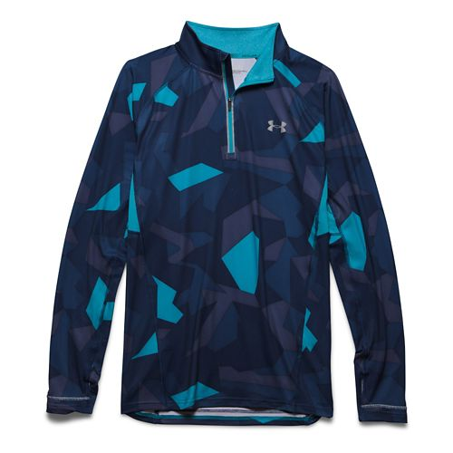 Mens Under Armour Launch Printed 1/4 Zip Long Sleeve Half Zip Technical Tops - Pacific ...
