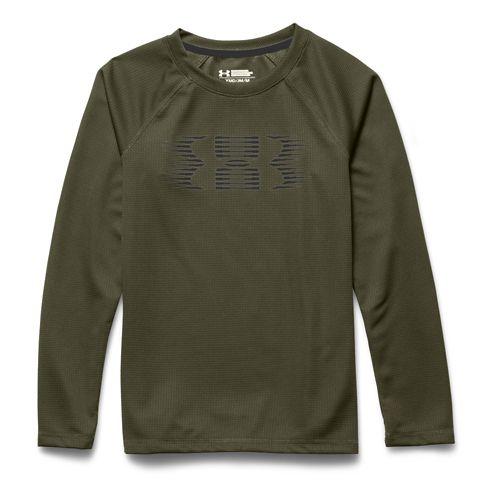 Kids Under Armour Waffle Crew Long Sleeve No Zip Technical Tops - Greenhead/Black YS