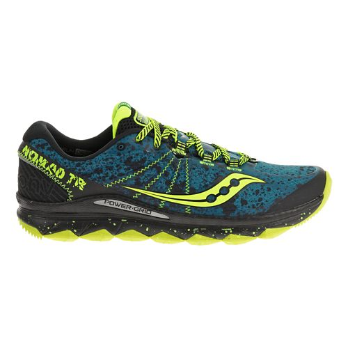 Mens Saucony Nomad TR Trail Running Shoe - Deepwater/Citron 10
