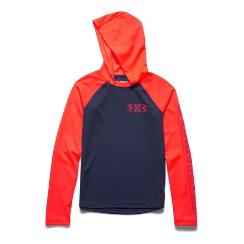 Kids Under Armour Waffle Long Sleeve Hooded Technical Tops - Blue Knight/ Orange YL
