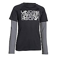 Kids Under Armour Waffle 2-In-1 T Long Sleeve No Zip Technical Tops