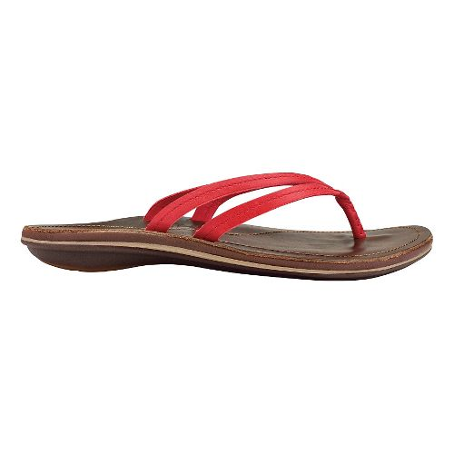 Womens OluKai U'i Sandals Shoe - Ohia Red/Dark Java 6