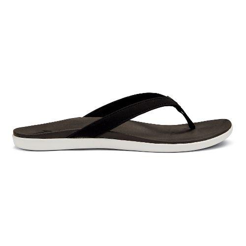 Womens OluKai Ho'opio Sandals Shoe - Black Honu/Charcoal 9