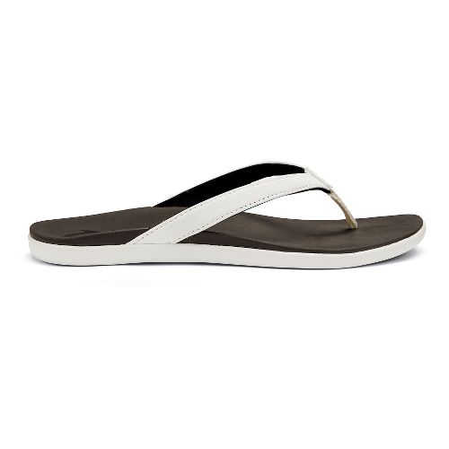Womens OluKai Ho'opio Sandals Shoe - White/Black 5