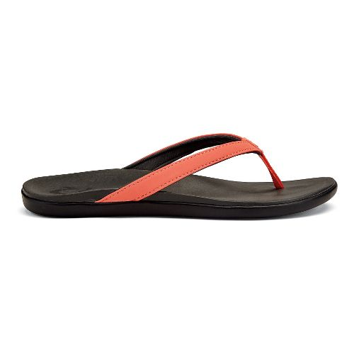 Womens OluKai Ho'opio Sandals Shoe - Black Honu/Charcoal 5