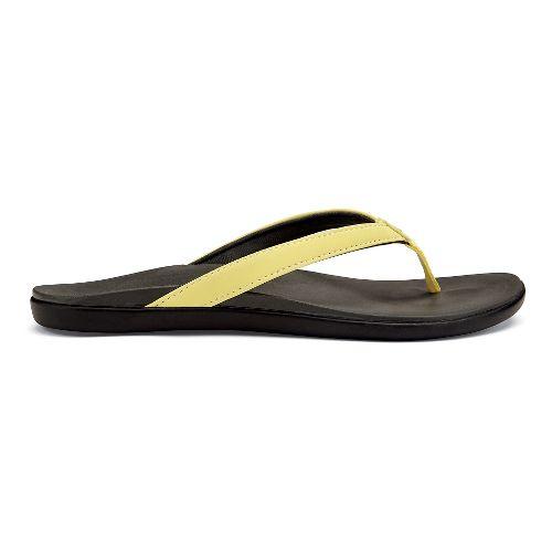 Womens OluKai Ho'opio Sandals Shoe - Lemonade/Shadow 10