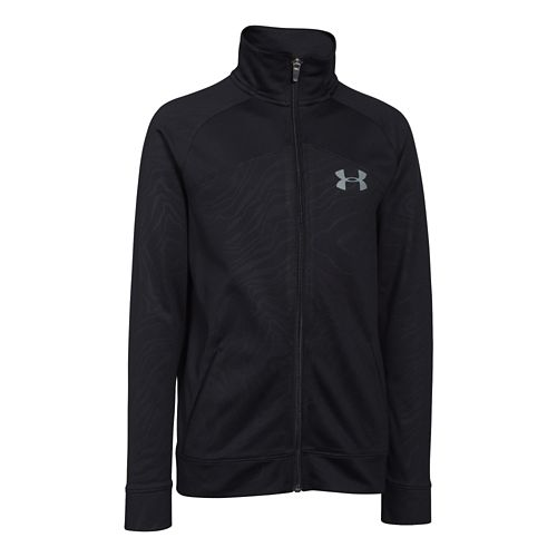 Kids Under Armour Brawler 2.0 Full-Zip Warm Up Unhooded Jackets - Black/Steel YL