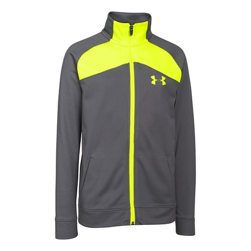 Under Armour Boys Brawler 2.0 Full-Zip Warm Up Unhooded Jackets - Graphite/Yellow YXL