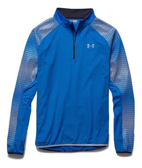 Mens Under Armour Run Windstopper 1/4 Zip Long Sleeve Technical Tops - Blue Jet M