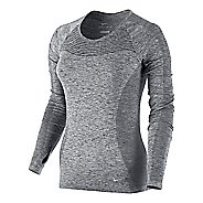 Womens Nike Dri-Fit Knit Long Sleeve Technical Tops - Light Grey/Heather L