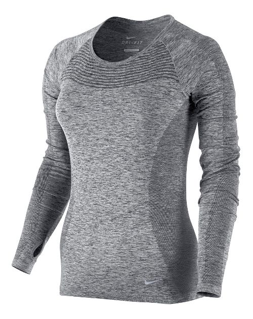 Womens Nike Dri-Fit Knit Long Sleeve Technical Tops - Light Grey/Heather M
