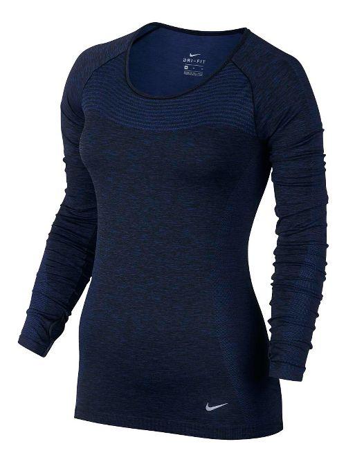 Womens Nike Dri-Fit Knit Long Sleeve Technical Tops - Dark Blue XL