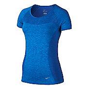 Womens Nike Dri-FIT Knit Short Sleeve Technical Tops - Deep Royal Blue L