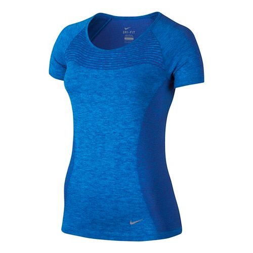 Womens Nike Dri-FIT Knit Short Sleeve Technical Tops - Deep Royal Blue XS