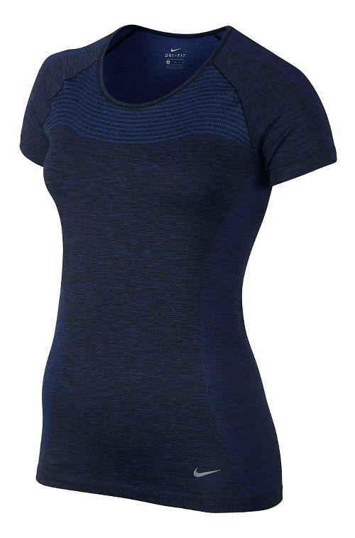Womens Nike Dri-FIT Knit Short Sleeve Technical Tops - Dark Blue XL