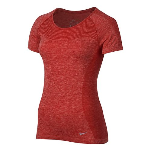 Womens Nike Dri-FIT Knit Short Sleeve Technical Tops - University Red XL