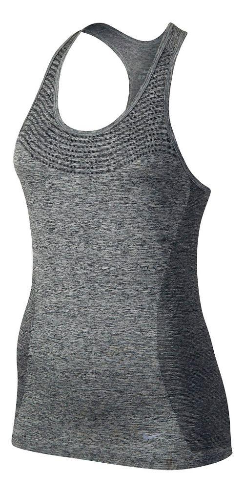 Womens Nike Dri-FIT Knit Sleeveless & Tank Technical Tops - Black/Heather L