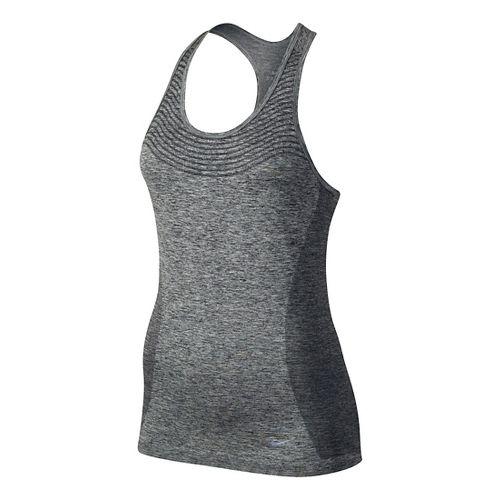 Womens Nike Dri-FIT Knit Sleeveless & Tank Technical Tops - Black/Heather S