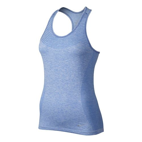 Womens Nike Dri-FIT Knit Sleeveless & Tank Technical Tops - Chalk Blue/Heather XL