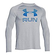 Mens Under Armour Big Logo Reflective Run T Long Sleeve No Zip Technical Tops