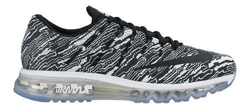 Womens Nike Air Max 2016 Print Running Shoe - White/Black 11