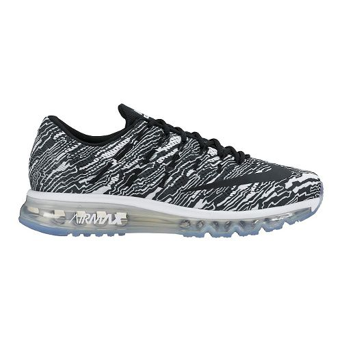 Womens Nike Air Max 2016 Print Running Shoe - White/Black 11