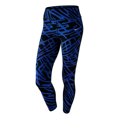 Womens Nike Power Epic Lux Crop Print Capris Pants - Game Royal/Black XL