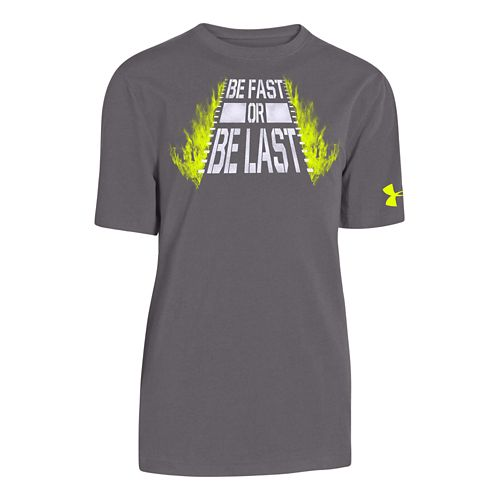 Kids Under Armour Be Fast T Short Sleeve Technical Tops - Graphite/White YS