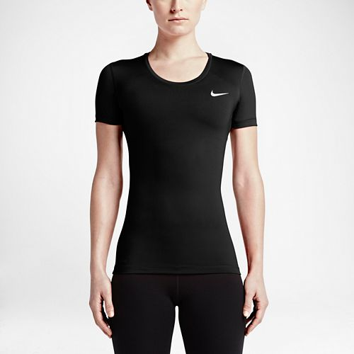 Womens Nike Pro Cool Short Sleeve Technical Tops - Black L