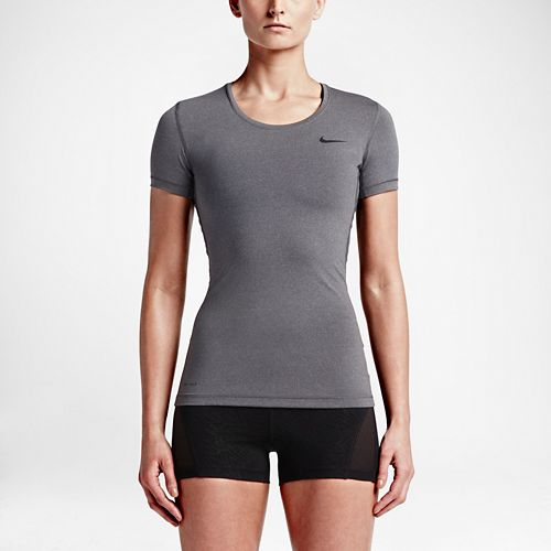 Womens Nike Pro Cool Short Sleeve Technical Tops - Heather Grey M