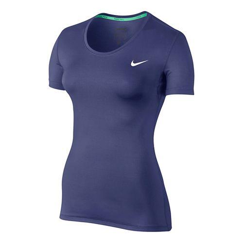 Womens Nike Pro Cool Short Sleeve Technical Tops - Dark Purple L