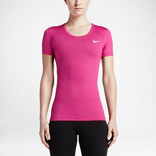 Womens Nike Pro Cool Short Sleeve Technical Tops - Vivid Pink L