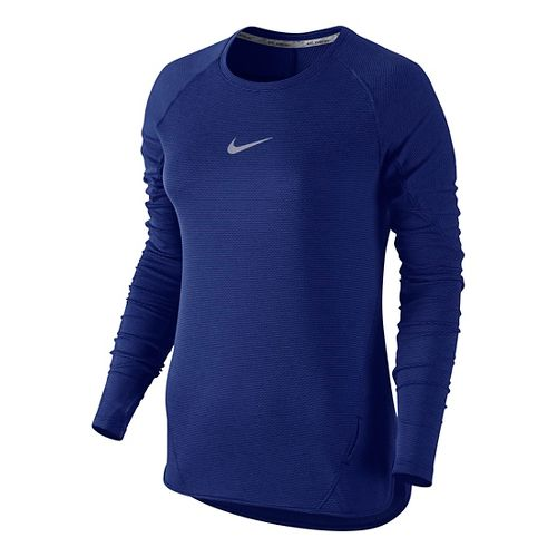 Womens Nike Aeroreact Long Sleeve Technical Tops - Deep Royal Blue M