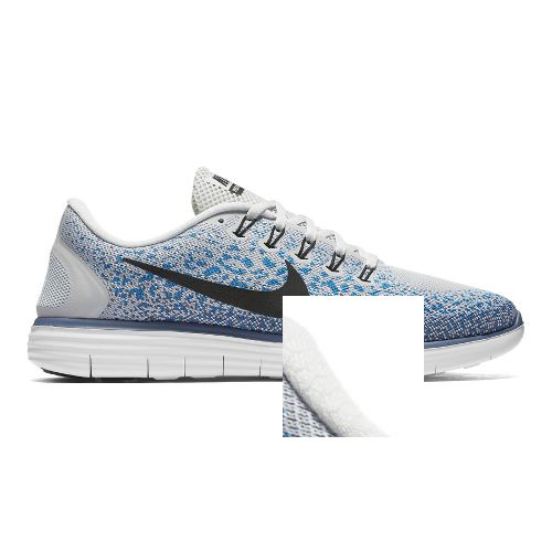 Mens Nike Free RN Distance Running Shoe - Platinum/Blue 11