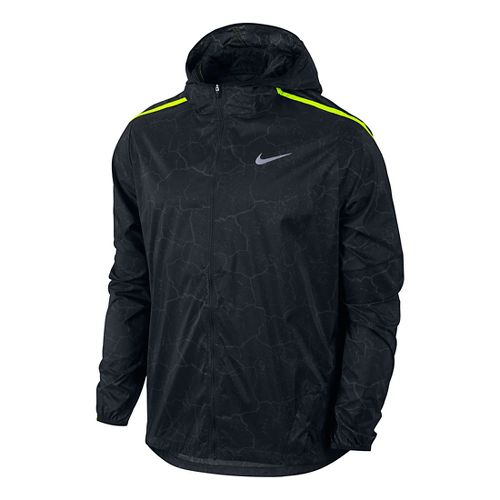 Mens Nike Impossibly Light Crackled Running Jackets - Anthracite/Volt XL