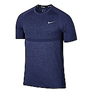 Mens Nike Dri-Fit Knit Short Sleeve Technical Tops - Midnight Navy S