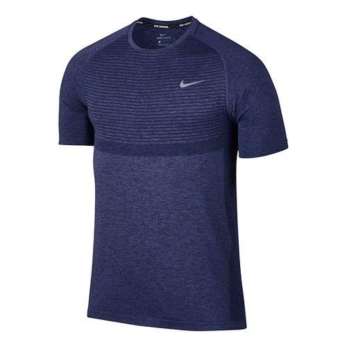 Mens Nike Dri-Fit Knit Short Sleeve Technical Tops - Midnight Navy S