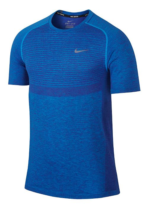 Mens Nike Dri-Fit Knit Short Sleeve Technical Tops - Deep Royal Blue S