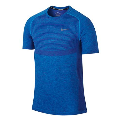 Mens Nike Dri-Fit Knit Short Sleeve Technical Tops - Deep Royal Blue L